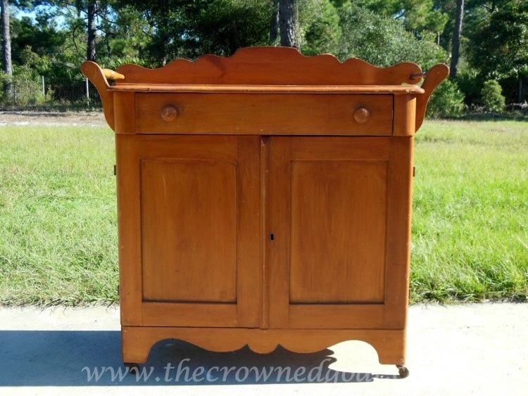 102714-1Pine-Washstand Washstand Makeover with DIY Chalk Inspired Paint Recipe Painted Furniture
