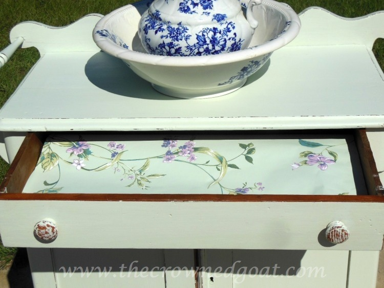 102714-7 Washstand Makeover with DIY Chalk Inspired Paint Recipe Painted Furniture