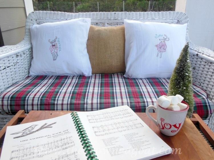 121514-11-Christmas-Porch-Vintage-Wicker-Bench1 Reindeer Flour Sack Towels Crafts Holidays