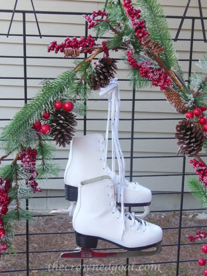 121514-5-White-Ice-Skates-and-Berry-Garland 2014 Christmas Porch Decorating Holidays