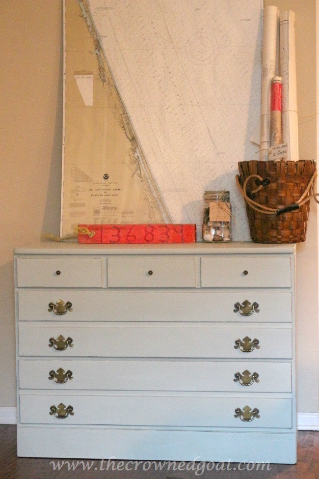 040915-6 Pale Green Sea Glass Inspired Annie Sloan Chalk Painted Dresser Painted Furniture