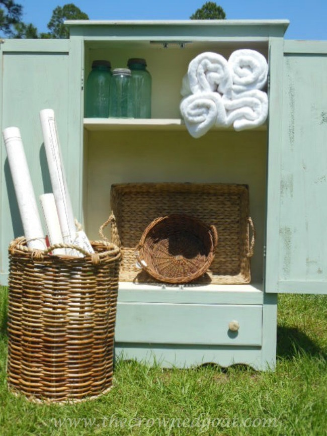Annie-Sloan-Chalk-Paint-Duck-Egg-Pine-Cabinet-The-Crowned-Goat-052115-6 Annie Sloan Chalk Duck Egg Painted Cabinet Painted Furniture