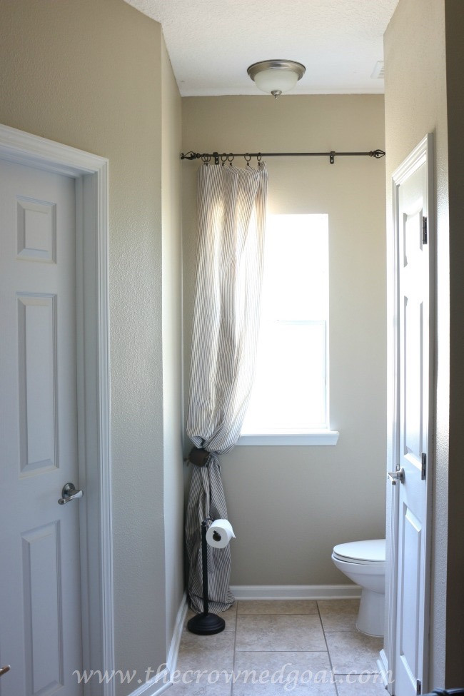 Blue-and-White-Ticking-Bathroom-Curtains-The-Crowned-Goat-061815-3 Master Bathroom Makeover Decorating