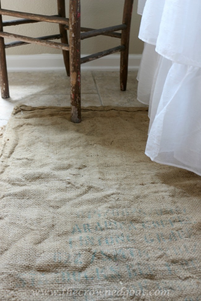 Using-an-Old-Coffee-Sack-as-a-Bathroom-Rug-The-Crowned-Goat-062415-7 Bathroom Makeover Reveal Decorating