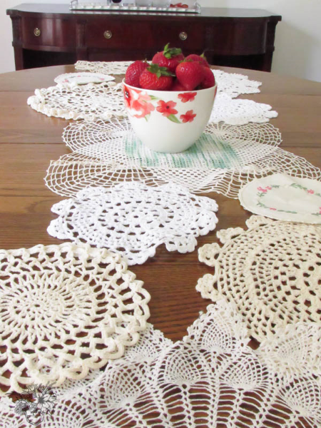 Pocket-of-Posies-Vintage-Doily-Table-runner Something to Talk About Link Party 25 LinkParty