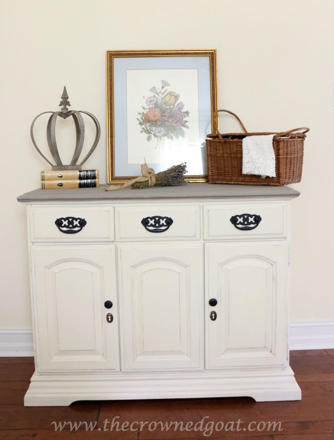 old white and french linen buffet - the crowned goat - 073015-8