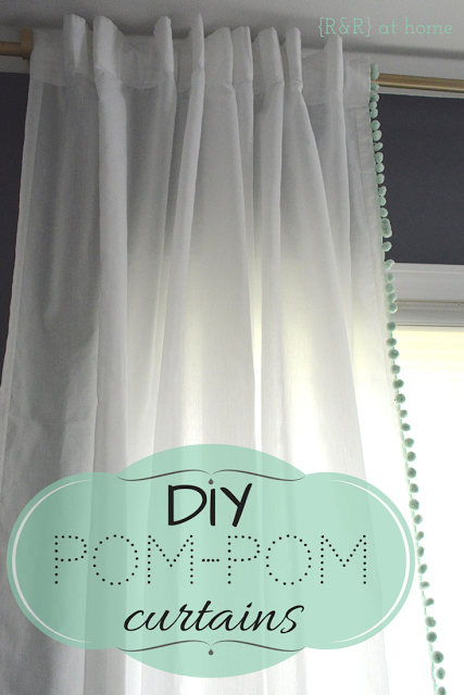DIY-Pom-Pom-Trim-Curtains Something to Talk About Link Party 30 LinkParty