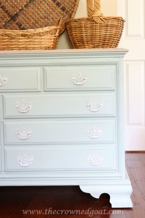 Duck Egg and French Linen Painted Dresser - The Crowned Goat - 081315-15