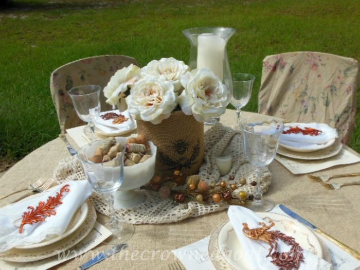 Fall-Tablescape-with-Vintage-China-and-Burlap-090315-8 10 Ways to Ease Into Fall Uncategorized