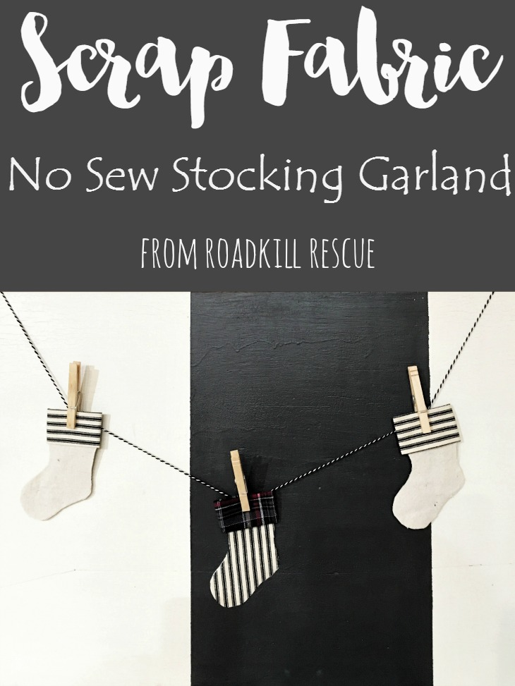 Scrap-Fabric-No-Sew-Stocking-Garland-from-RoadKill-Rescue Something To Talk About Link Party 45 LinkParty
