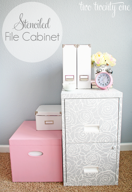 stenciled-file-cabinet Something To Talk About Link Party #50 LinkParty