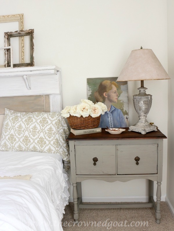 022416-19 French Linen Painted Nightstand