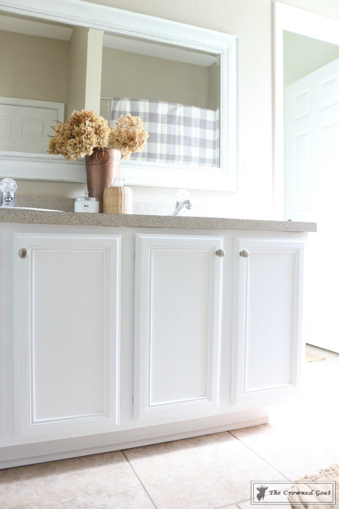 Painting a bathroom cabinet with general finishes milk paint the crowned goat Best paint finish for bathroom