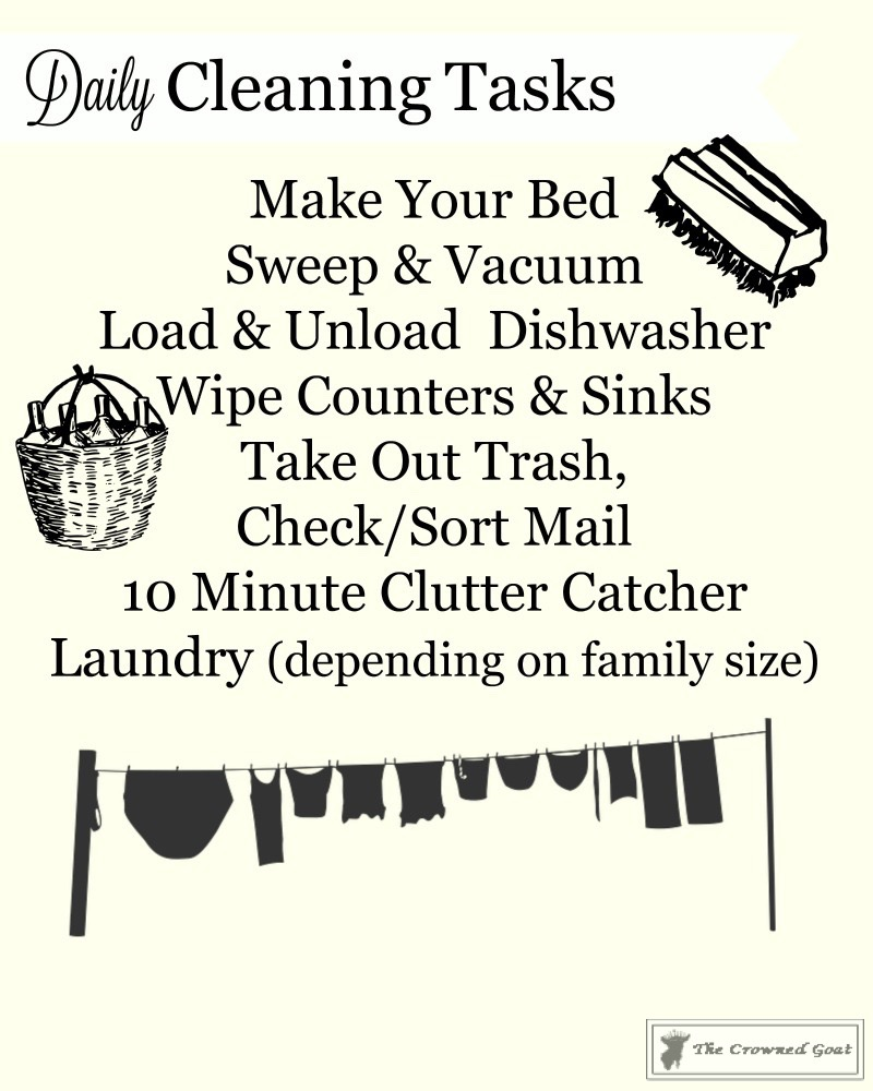 Daily-Cleaning-Tasks-4 Simple Cleaning Routines & Free Printables DIY Organization
