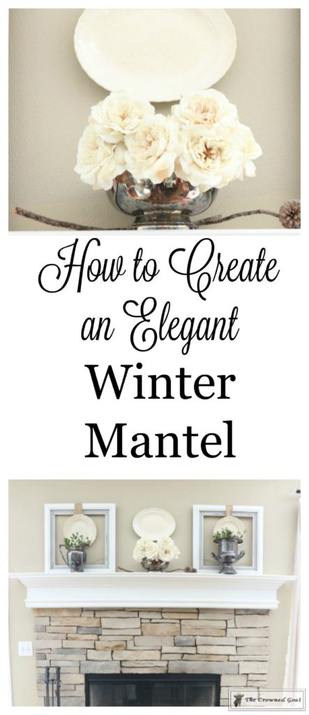 Elegant-Winter-Mantel-1-443x1024 How to Create an Elegant Winter Mantel Decorating DIY