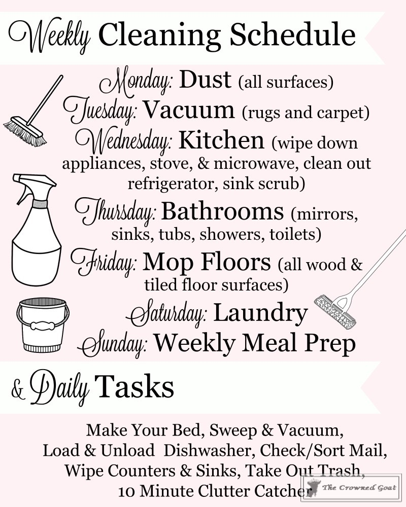 Weekly-Daily-Cleaning-Schedule-6 Simple Cleaning Routines & Free Printables DIY Organization