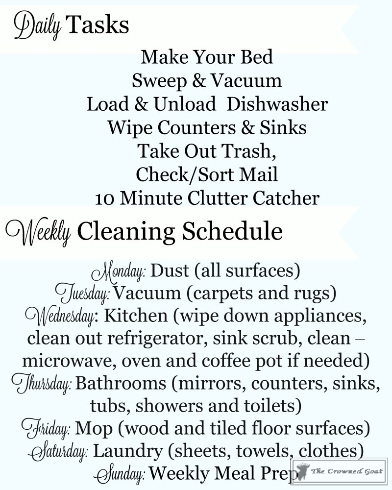 Weekly-Daily-Cleaning-Schedule-Checklist-8 Simple Cleaning Routines & Free Printables DIY Organization