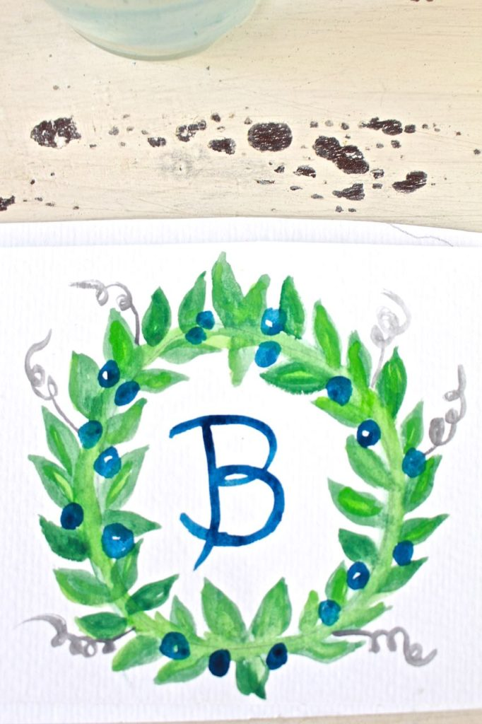 Watercolor-Wreath.-Easy-to-make-watercolor-wreath-16-682x1024 Personalized Stationery for The Busy Girl Crafts DIY