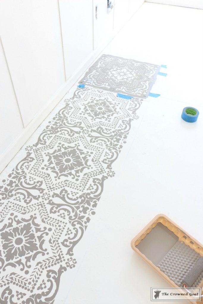 Easily-Stencil-a-Concrete-Floor-10-683x1024 How to Stencil a Concrete Floor Like a Pro DIY One_Room_Challenge Painted Furniture