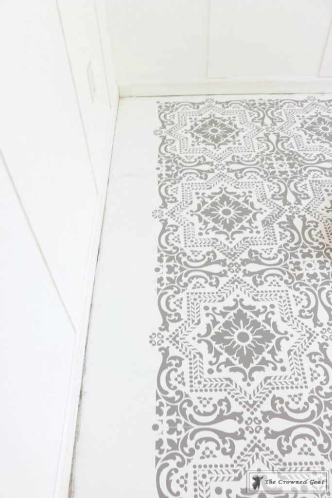 Easily-Stencil-a-Concrete-Floor-13-683x1024 How to Stencil a Concrete Floor Like a Pro DIY One_Room_Challenge Painted Furniture