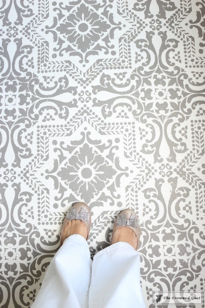 Easily-Stencil-a-Concrete-Floor-18-683x1024 How to Stencil a Concrete Floor Like a Pro DIY One_Room_Challenge Painted Furniture