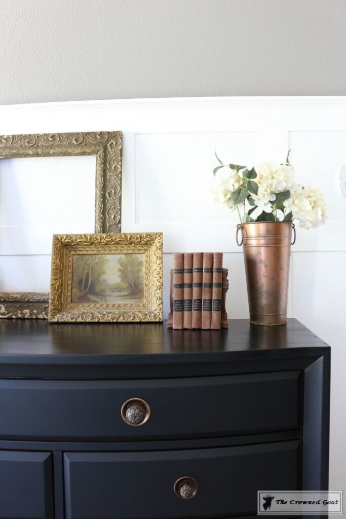 Lamp-Black-Painted-Dresser-10-683x1024 Painted Dresser in General Finishes Lamp Black DIY One_Room_Challenge Painted Furniture