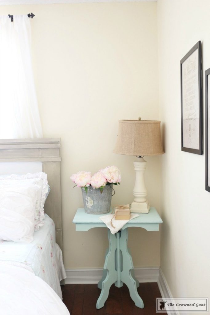 Glidden-Bermuda-Bay-Plus-White-Painted-Nightstand-5-683x1024 17 Easy Gifts to Make Before Mother's Day Crafts DIY Spring