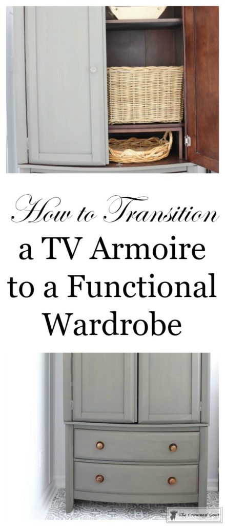 TV-Armoire-Makeover-1-439x1024 TV Armoire to Functional Wardrobe Makeover DIY One_Room_Challenge Painted Furniture