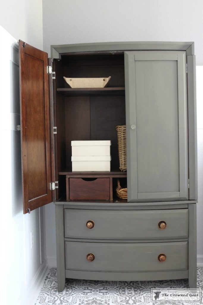 TV-Armoire-Makeover-15-683x1024 TV Armoire to Functional Wardrobe Makeover DIY One_Room_Challenge Painted Furniture