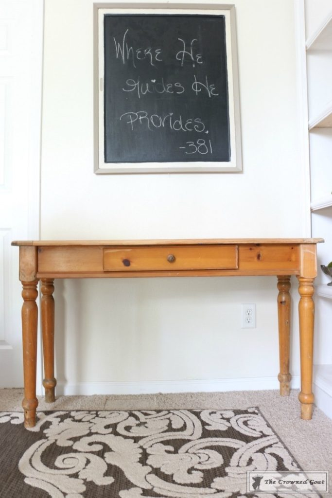 Using-Dark-Furniture-Wax-to-Cover-Orange-Pine-1-683x1024 Before & After Console Table: Using Dark Wax as a Stain DIY One_Room_Challenge Painted Furniture