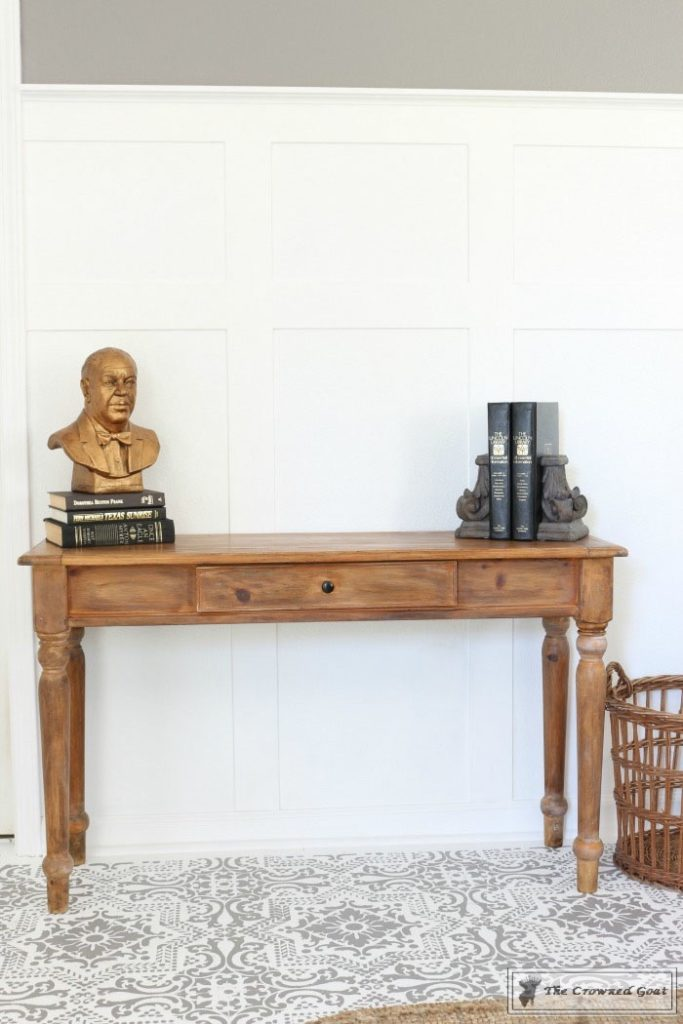 Using-Dark-Furniture-Wax-to-Cover-Orange-Pine-13-683x1024 Before & After Console Table: Using Dark Wax as a Stain DIY One_Room_Challenge Painted Furniture