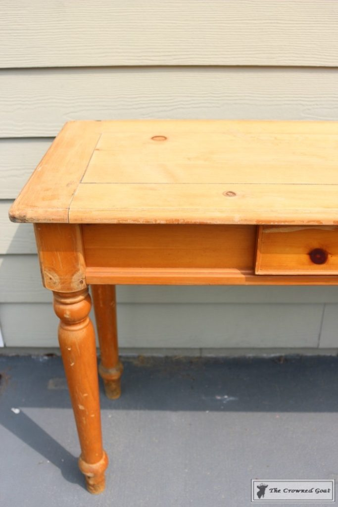 Using-Dark-Furniture-Wax-to-Cover-Orange-Pine-3-683x1024 Before & After Console Table: Using Dark Wax as a Stain DIY One_Room_Challenge Painted Furniture