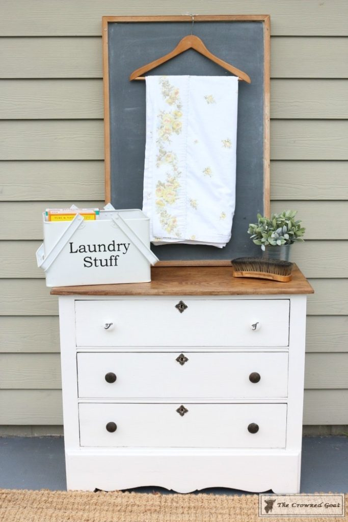 creating a laundry room folding station from a dresser the crowned goat. Black Bedroom Furniture Sets. Home Design Ideas