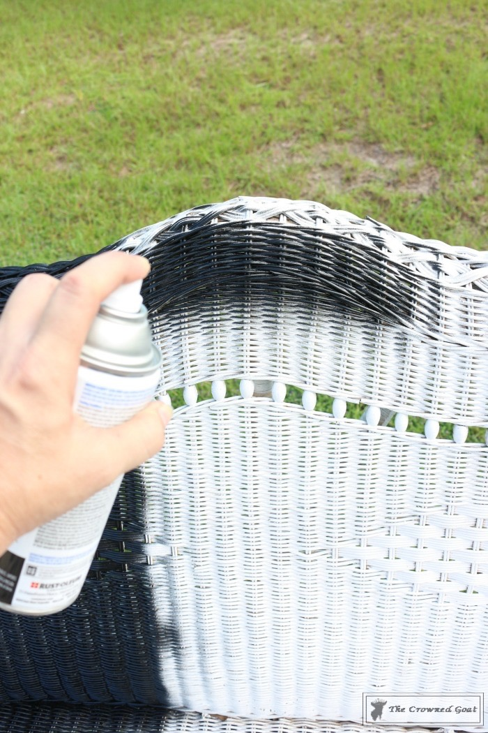 How To Spray Paint Wicker Furniture The Crowned Goat
